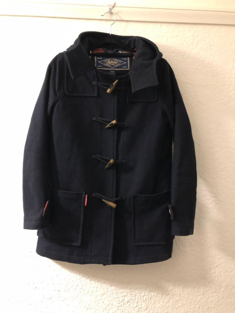 Super dry - navy blue over coat - size XXS / Aus 6