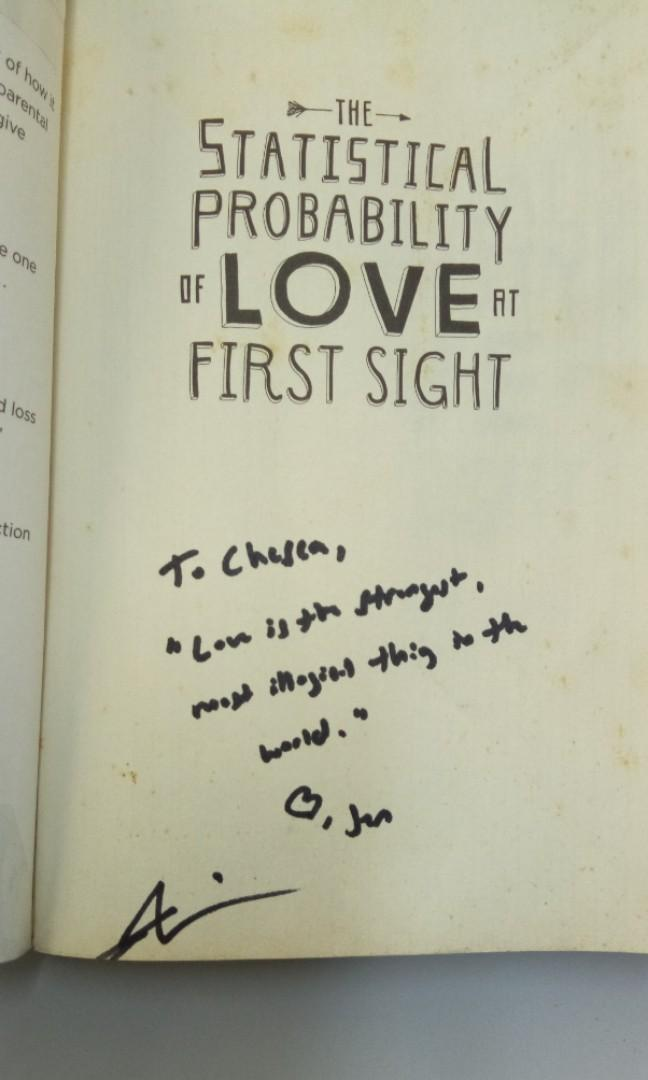 The Statistical Probability of Love at First Sight by Jennifer E. Smith (Signed)