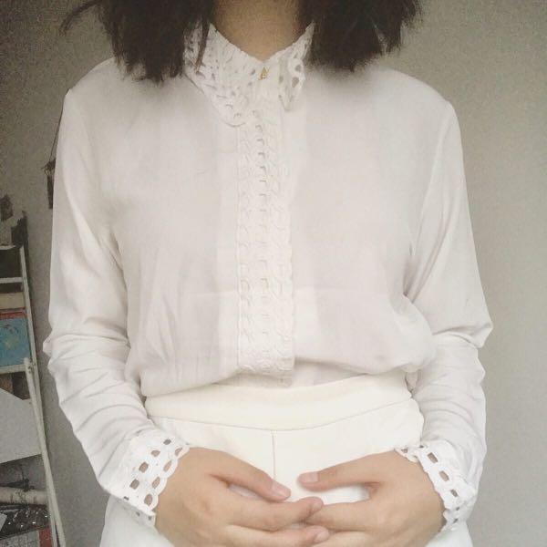 Vintage weaved collar blouse