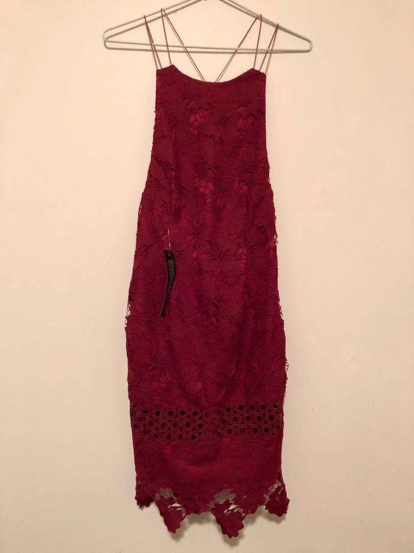 Women's Topshop Maroon Lace Bodycon Dress size 8 New with tags FREE SHIPPING