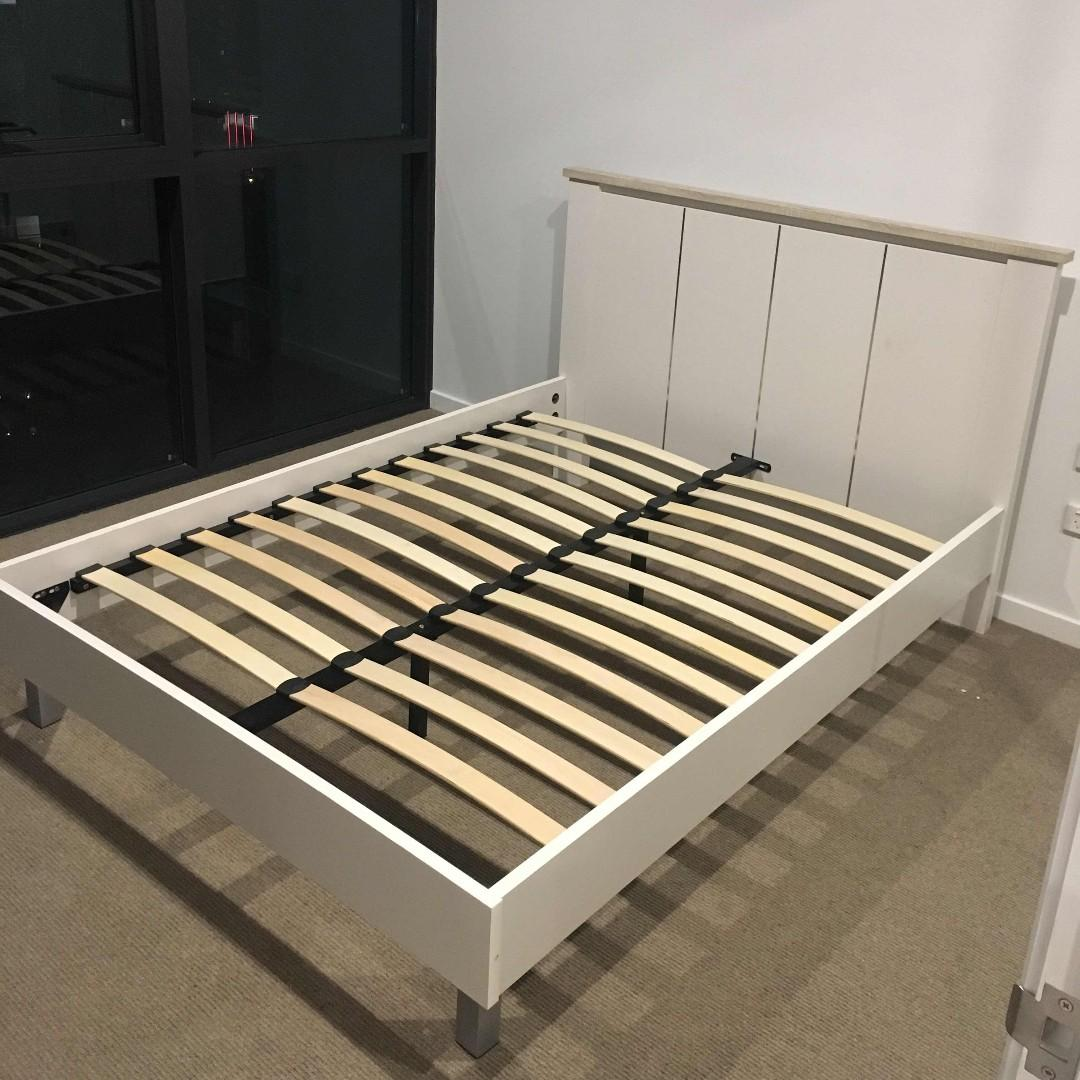 Wooden Double Bed Frame WHITE Colour with Mattress at $440