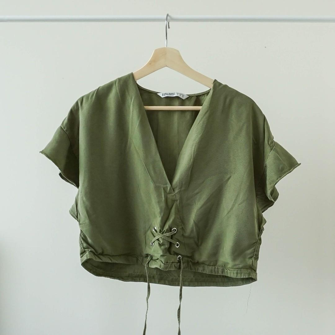 ZARA Army green v-neck crop top with straps (XS/S)