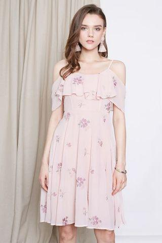 <INTQ LABEL> FAYE EMBROIDERED COLD SHOULDER DRESS IN PINK