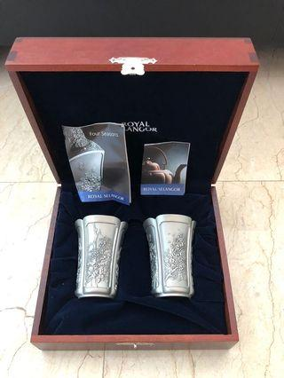 Royal Selangor Pewter - Four Seasons Beaker Pair in Wooden Gift Box