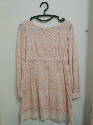 Pink baby doll lace dress