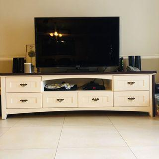 French/Country Design TV Console (with 6 drawers)