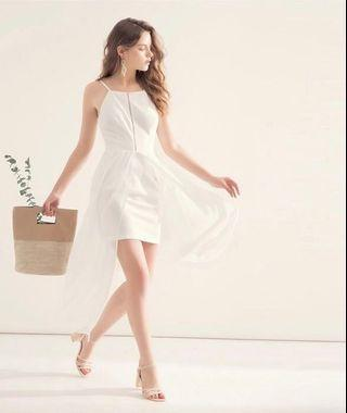 AIRSPACE SLEEVELESS FRONT SPLIT CHIFFON DRESS