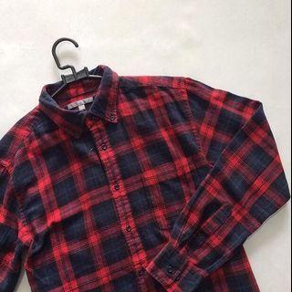 kemeja flannel uniqlo shirt size M