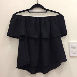 Off-shoulder Ruffle Top (black)