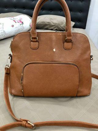 Stradivarius Bag Tas Leather Brown