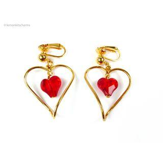 Vintage Avon Red Heart Dangle Earrings, er1817-c