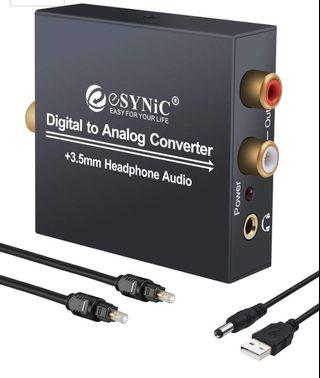 🚚 eSynic DAC Digital to Analog Audio Converter Digital Optical SPDIF Coaxial to Analog L/R RCA Converter