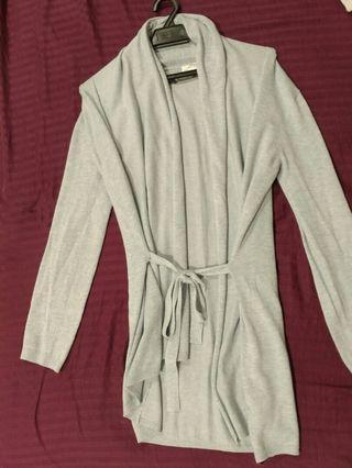 ZARA Knitted Long Cardigan with Ribbon detail