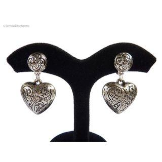 Vintage Avon Antiqued-Style Heart Earrings, er1818-c