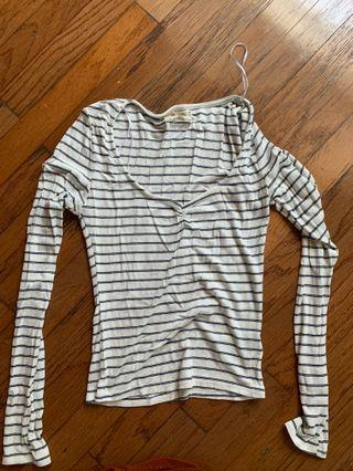 Blue and white stripe long sleeve