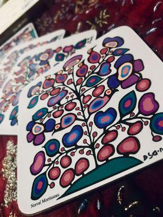 USED ONCE 😍 Authentic OSCARDO Ojibwa Artist Norval Morrisseau Art Glass Insulators SET OF 4