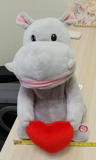 Singing Hippo Hippopotamus soft toy (see video) 會唱歌河馬毛公仔 (有片睇)