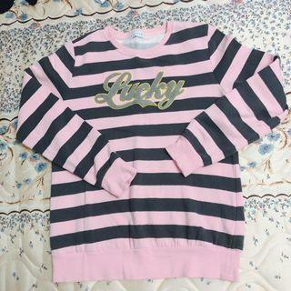 🚚 粉色條紋長袖上衣