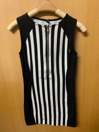 h&m黑白修腰間條連身裙