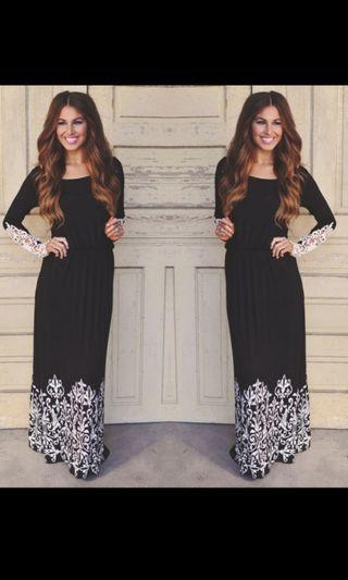 Lace long sleeves maxi dress. PO