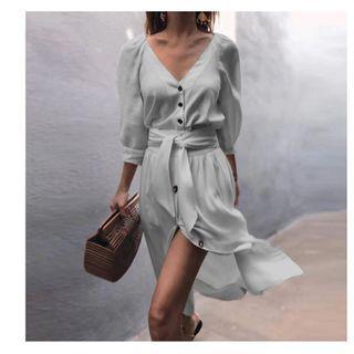 Midi Dress V-neck white (Size 10/12)