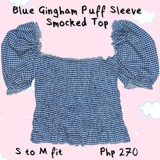 Blue Gingham Puff Sleeve Smocked Top