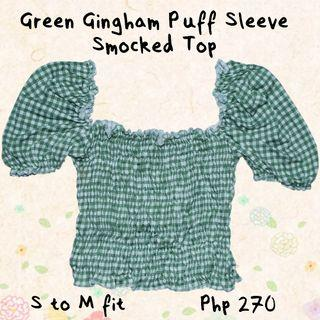 Green Gingham Puff Sleeve Smocked Top