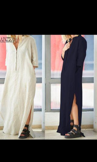 Loose cotton Boho qtr sleeves side split dress. PO