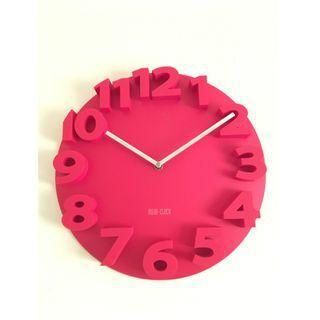 🚚 【專賣二手物】MEIDI CLOCK 簡約時尚浮字時鐘(紅色)