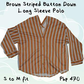 Brown Striped Button Down Long Sleeve Polo