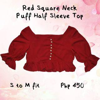 Red Square Neck Puff Half Sleeve Top