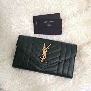 ON HAND: Authentic Yves Saint Laurent Monogram Large Flap Wallet in Green