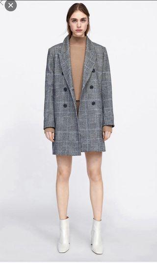 Zara tweed check coat