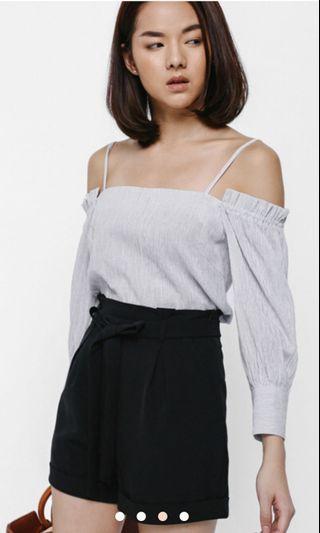 Love bonito Seannie High Waist Sash Paperbag Shorts