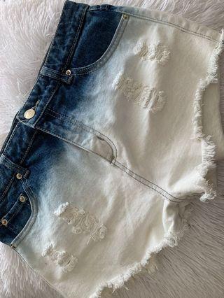 F21 Two-Tone Denim Shorts