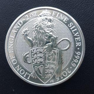 2016 2 oz British Queen's Beast The Lion Silver Coin
