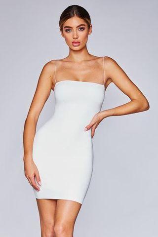 MIA THIN STRAP BODYCON MINI DRESS - WHITE