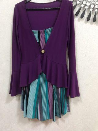Top & skirt purple set