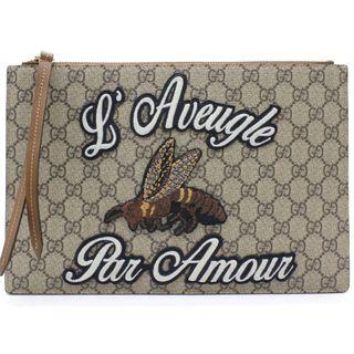 GUCCI Supreme Monogram Embroidered Large Blind For Love Zip Pouch Brown