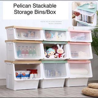 Bundle of 2 Stackable Flip up Pelican bin Storage box XLarge