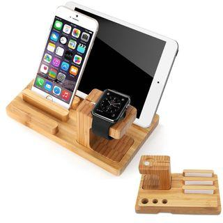 (K388) SPLAKS Apple Watch Stand, Charge Dock Holder for Apple Watch & Docking Station Cradle Bracket for iPod iPhone iPad & Other Phones Tablets (Bamboo Wood Apple Watch Stand)
