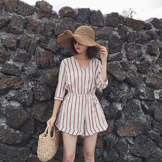 🚚 Stripe Linen Romper Playsuit