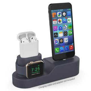 (K382) 3 in 1 Charging Stand Silicone Compatible with Apple Watch, AirPods and iPhone Xs/Xs Max/Xr/ 8/8 Plus【iPhone Original Cables Required-NOT Included】(BLACK