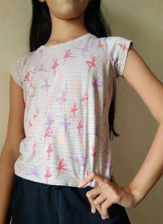 Kids top with stripes and ballerina prints