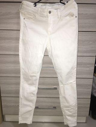 old navy rockstar white ripped jeans
