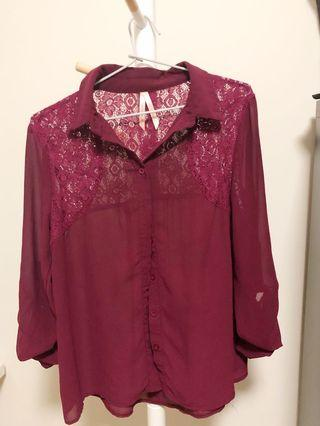 Maroon lace blouse