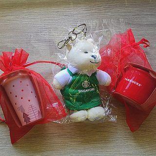 Starbucks miniature cups and barrista bear keychain