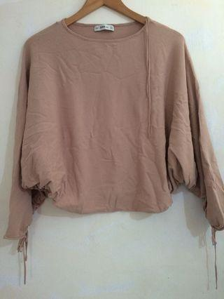 ZARA Muave Soft Pink Batwing Sleeve Tie-up Jumper