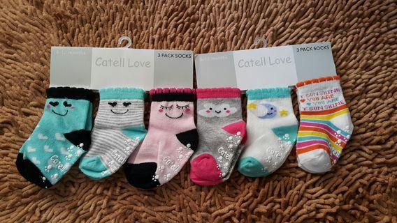 Baby Socks Girl 6m to 12m with antislip