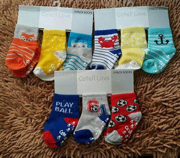 Baby Socks Boys 6m to 12m with antislip